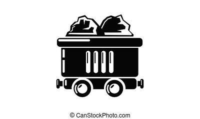 animation, voiture, charbon, icône