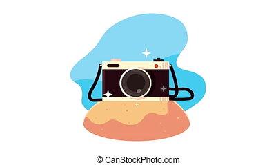 animation, voyage, appareil photo, photographique, bon