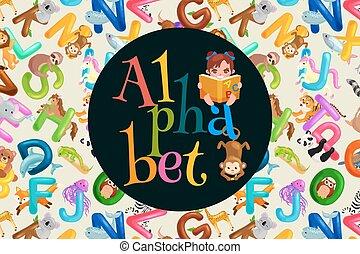 animaux, abc, alphabet, modèle, lettres, amusement, mignon, langue, ensemble, vecteur, dessin animé, enfants, préscolaire, gosses, education, zoo, illustration, collection, anglaise, apprentissage