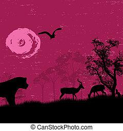 animaux, -, afrique, /, silhouettes, safari, sauvage