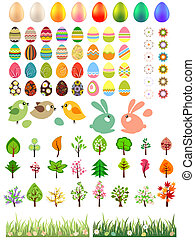animaux, arbres, fleurs, oeufs pâques, collection, grand