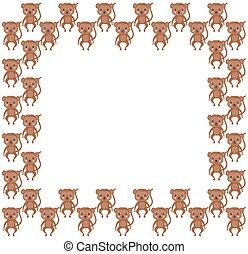 animaux, cadre, ruddy, mignon, brun, space., vector., africaine, text., carré rose, border., copie, lumière, joues, araignés, jouet, blanc, couleur, adoré, singes, arrière-plan.