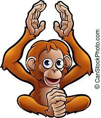 animaux, caractère, orang-outan, safari, dessin animé