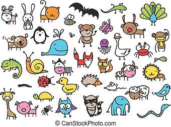 animaux, dessins, gosse