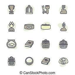 animaux familiers, ensemble, icônes, marchandises