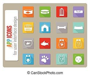 animaux familiers, ensemble, marchandises, icône