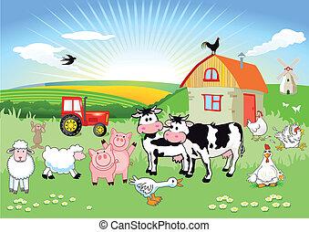 animaux, ferme, carton