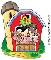 animaux ferme, divers, grange