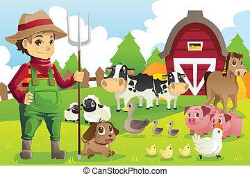 animaux ferme, paysan
