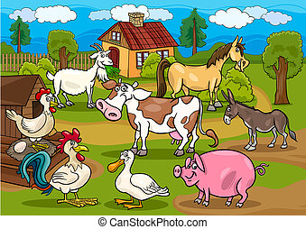 animaux, ferme, scène, illustration, rural, dessin animé