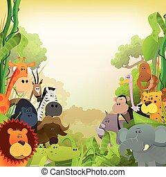 animaux, fond, vie sauvage, africaine