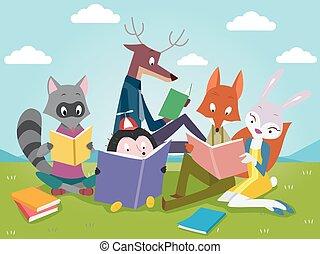 animaux, livres, lecture, mignon