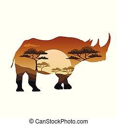 animaux, savane, affiche, thèmes, vecteur, afrique, sauvage, safari