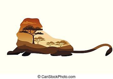 animaux, savane, chasse, affiche, survie, thèmes, afrique, sauvage, safari, sauvage