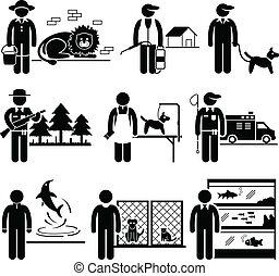 animaux, travaux, carrières, métiers