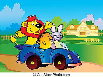 animaux, voiture.