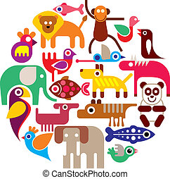 animaux, zoo, -, vecteur, rond