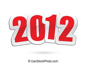 année, 2012, vecteur, salutations, nouveau