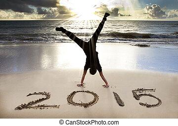année, 2015, nouveau, plage, levers de soleil, heureux