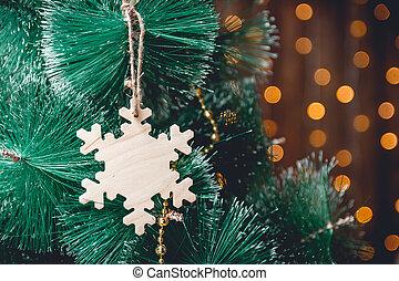 année, arbre, nouveau, bois, décoration, décorer, mains, noël, snowflakeemale