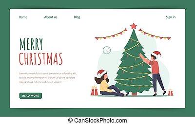 année, arbre., template., page, joyeux, décorer, noël, atterrissage, famille, nouveau