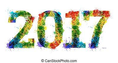 année, clair, conception, fond, encre, blanc, coloré, splat