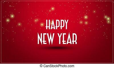 année, closeup, heureux, nouveau, fond, texte, animé, rouges