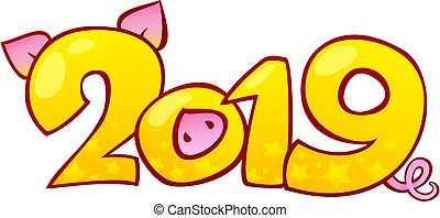 année, heureux, arrière-plan., nouveau, 2019, chinois