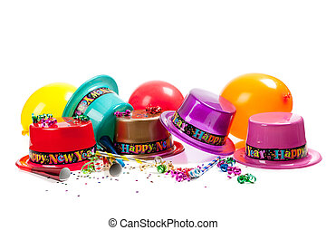 année, heureux, chapeaux, nouveau, blanc