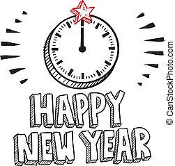 année, heureux, horloge, croquis, nouveau