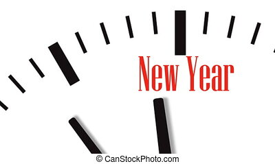 année, horloge, animation, nouveau, compte rebours