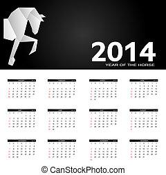 année, illustration, vecteur, nouveau, 2014, calendrier