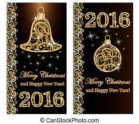 année, joyeux noël, 2016, nouveau
