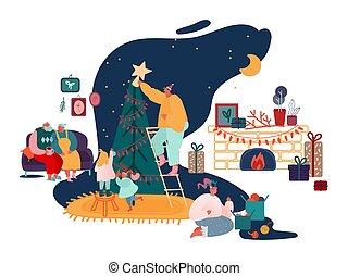 année, noël, famille, joyeux, cheminée, parents, ensemble, présents noël, saison, décorer, scenes., chants, chanter, enfants, illustration, nouveau, vecteur, hiver, emballage, arbre, célébration