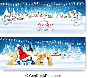 année, noël, garland., bannières, nouveau, vector., paysage, vacances, coloré, village