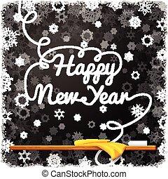 année, noir, heureux, école, nouveau, boucle, message, lettering., tableau, écrit