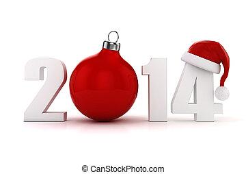 !, année, nouveau, 2014, heureux, 3d
