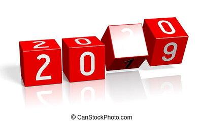 année, nouveau, changement, 2019/2020, concept