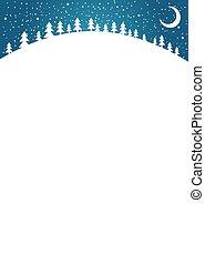 année, snow., paysage, design., copie, vertical, illustration., noël, plat, blanc, simple, ton, lune, forêt, nouveau, fond, space., carte, vecteur