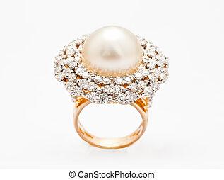anneau, diamant, vue dessus