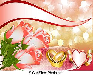 anneau, invitation, mariage, rose