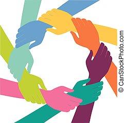 anneau, mains, collaboration, coloré, créatif