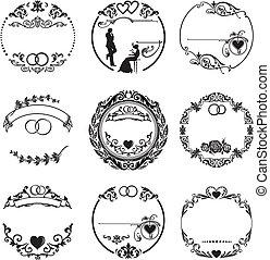 anneaux, cadre, rond, mariage