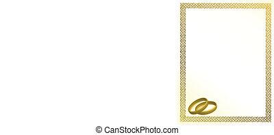 anneaux, carte or, mariage