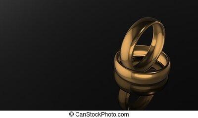 anneaux, fond, noir, mariage
