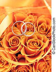 anneaux, orange, or, roses, mariage