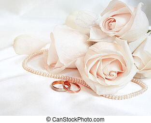 anneaux, roses, mariage