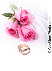 anneaux, roses, rose, mariage