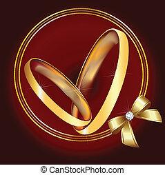 anneaux, ruban, or, mariage