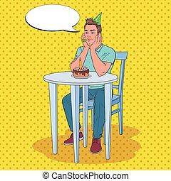 anniversaire, art, malheureux, triste, célébrer, pop, vecteur, illustration, homme, type, alone., cake.